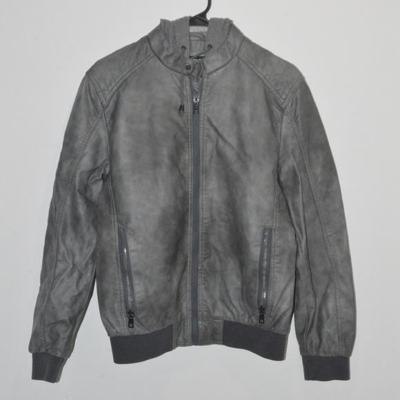 2e5f01f02 Black Rivet Mens Faux-Leather Bomber Jacket